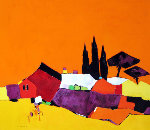 Riviera 38x43 Original Painting - Adrian  Prisecaru