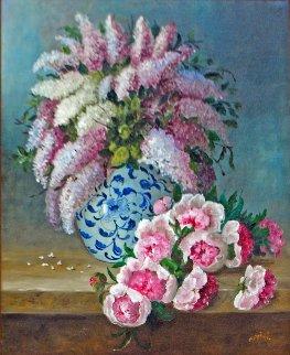 Roses Et Lilas 41x35 Original Painting - Colette Privat