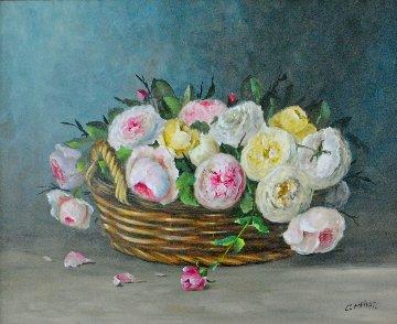 Le Panier De Fleurs 1995 30x34 Original Painting - Colette Privat