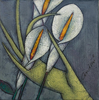 Calla Lily 2000 10x10 Original Painting by Andrei Protsouk