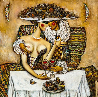 Oysters 2000 44x44 Original Painting by Andrei Protsouk
