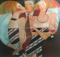 Play With a Tie 2004 36x30 Original Painting by Andrei Protsouk - 0