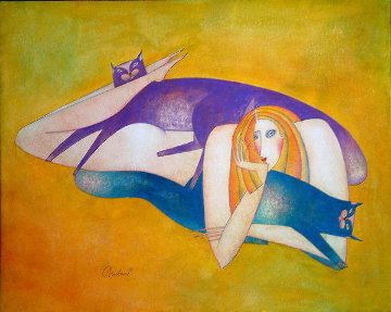 Purple And Blue Cat 22x25 Works on Paper (not prints) by Andrei Protsouk