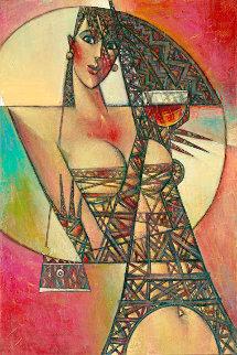 Rouge De La Eiffel 2016 36x24 Original Painting by Andrei Protsouk