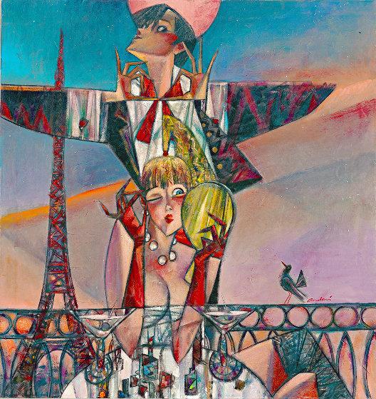 Reflections of Paris 2018 34x36 Original Painting by Andrei Protsouk