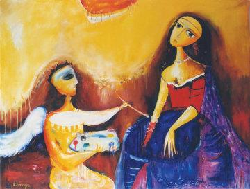 Arist and Model 10x11 Original Painting - Romaya Puchman