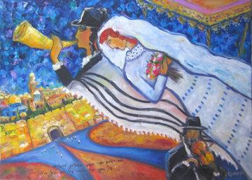 Jerusalem Wedding 10x10 Original Painting - Romaya Puchman