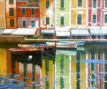 Facanas De La Calata Porto  1997 30x34 Original Painting - Ramon Pujol
