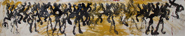 Street Dance 1995 14x50 Original Painting - Purvis Young