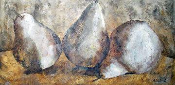Three Pears 41x77 Super Huge Original Painting - Alicia Quaini