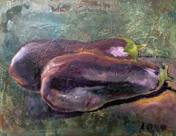 Eggplant 1993 29x34 Original Painting by Alicia Quaini