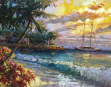 Sunset in Lanai 2006 49x41 Original Painting - Steve Quartly