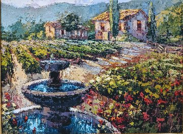 Fountain Classic Rose And Vineyard 2000 23x29 Original Painting - Steve Quartly