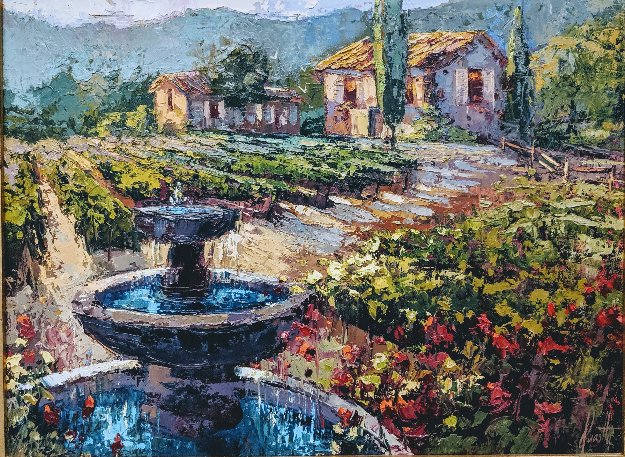 Fountain Classic Rose And Vineyard 2000 23x29 Original Painting by Steve Quartly