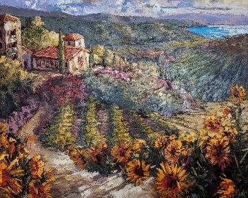 Sunflowers of Tuscany 2003 50x60 Huge Original Painting - Steve Quartly