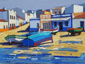 Sur La Plage  D' Alvor  Algarve - Portugal 2012 23x31 Original Painting - Jean-Claude Quilici