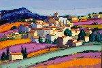 Le Village D'Aurel 2014 38x57 Original Painting - Jean-Claude Quilici