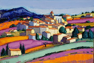 Le Village D'Aurel 2014 38x57 Original Painting - Jean-Claude Quilici