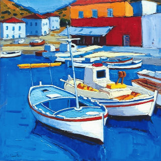 Barques De Pacheurs - Hydra - Grace 2011 Original Painting by Jean-Claude Quilici