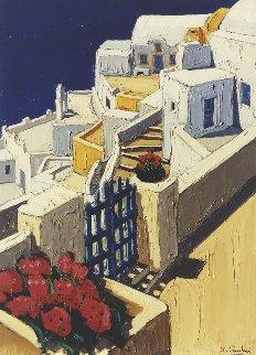 Portail Fleuri Sur La Caldeira - Santorini  2001 23x31 Original Painting - Jean-Claude Quilici