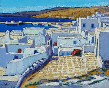 Lumiere Bleutee Sur Mykonos 2011 25x31 Original Painting - Jean-Claude Quilici
