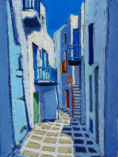 Ruelle Dans Mykonos 2006 31x23 Original Painting - Jean-Claude Quilici