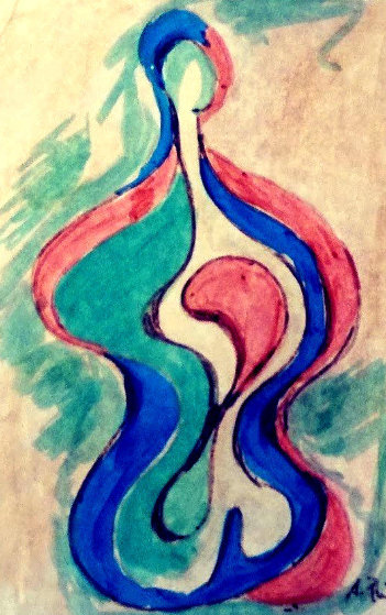 Untitled Abstract Drawing 22x21 Drawing by Anthony Quinn