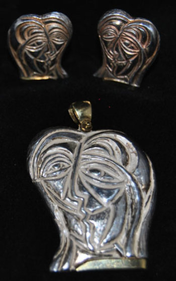 Lovers Sterling Silver Earrings and Pendant Jewelry by Anthony Quinn