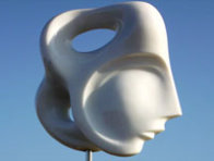 Indian Beauty Unique Carerra Marble Sculpture 11 in plus base Sculpture by Anthony Quinn - 1