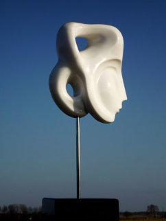 Indian Beauty Unique Carerra Marble Sculpture 11 in plus base Sculpture - Anthony Quinn