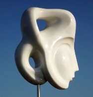 Indian Beauty Unique Carerra Marble Sculpture 11 in plus base Sculpture by Anthony Quinn - 5