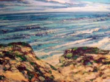 Untitled Seascape 36x48 1970's 36x48 Original Painting - Jim Rabby
