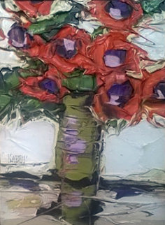 Bright Orange Poppies 1972 13x11 Original Painting by Jim Rabby