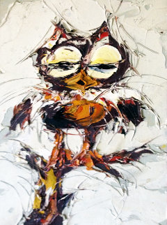 This Looks Like a Girl Owl to Me 1972 17x21 Original Painting by Jim Rabby