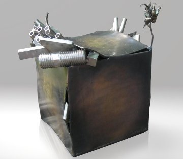 Pandora Box Bronze Unique Sculpture 2008 15 in  - Semion Rabinkov