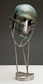 Man's Portrait Bronze and Stainless Steel Sculpture Ap  2012 18 in Sculpture by Semion Rabinkov