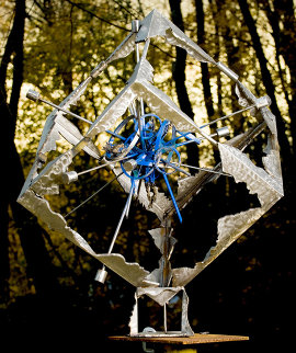 Blue Explosion (From Meteorite Series) Bronze Sculpture 2008 42x42x36 Sculpture by Semion Rabinkov