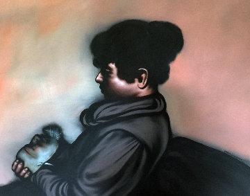 Untitled (Portrait of a Boy) 1984 59x50 Original Painting - Rafael Coronel