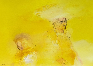 Yellow People 1974 33x44 Original Painting - Rafael Coronel