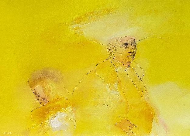 Yellow People 1974 33x44 Original Painting by Rafael Coronel