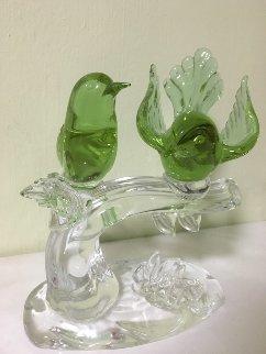 Untitled Pair of Birds Glass Sculpture Sculpture - Elio Raffaeli