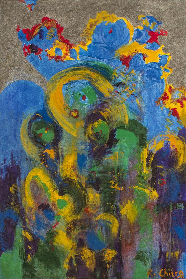 Ebullient 2008 24x18 Original Painting by Chitra Ramanathan