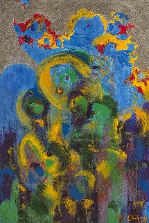 Ebullient 2008 24x18 Original Painting - Chitra Ramanathan