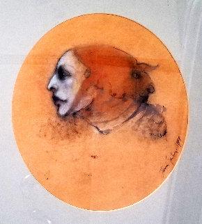 Woman in a Beehive Hat 1974 28x23 Original Painting - Ramon Santiago