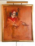 Pope Innocent X,  Velasquez 1976 47x40 Super Huge Original Painting by Ramon Santiago - 2