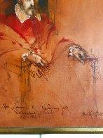 Pope Innocent X,  Velasquez 1976 47x40 Super Huge Original Painting by Ramon Santiago - 3