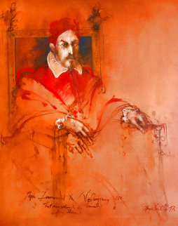 Pope Innocent X,  Velasquez 1976 47x40 Original Painting - Ramon Santiago