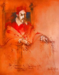 Pope Innocent X,  Velasquez 1976 47x40 Huge Original Painting - Ramon Santiago