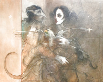 Encounter 1979 41x51 Huge Original Painting - Ramon Santiago