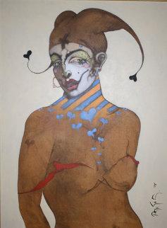 Jester 1995 44x36 Original Painting - Ramon Santiago